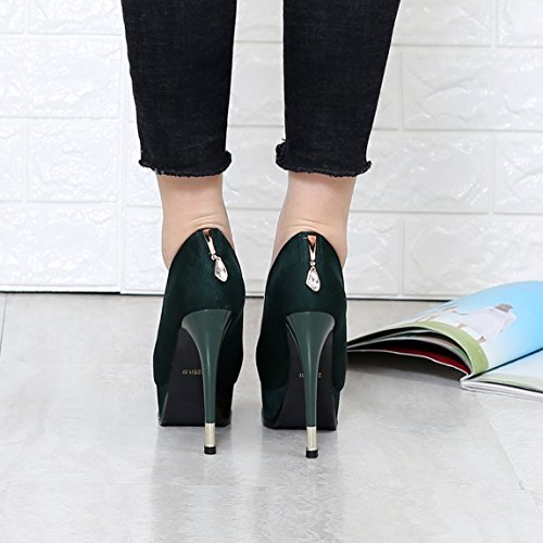 Fine Match With Leisure Spring 11 Shoes 34 Heels Waterproof Suede Work Elegant Single Shoes 5Cm A Green All Lady MDRW Taiwan OpwtTPqT