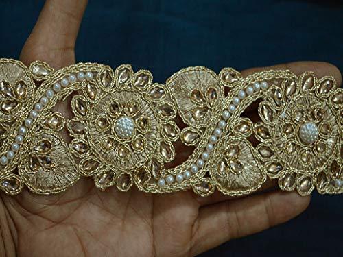 Beaded Sari - 2.3 Inches Costume Metallic Beaded Sari Trim Gold Kundan Lace Trimmings Embellishments Saree Border Wholesale Decorative Ribbon Trim by 9 Yard Dress DIY Party Clothes Décor Curtains Table Runner