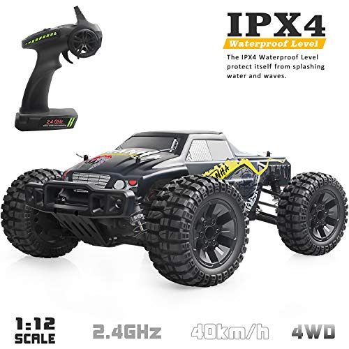 - VCANNY Large Size 1: 12 Scale Electric Remote Control Truck with High Speed 40km/H 4WD 2.4Ghz, Radio Controlled Off Road RC Car Electronic Monster Truck R/C RTR Hobby Grade Cross- Country Car Buggy