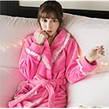 GL&G Autumn And Winter The New Flannel Quilted Thicker Siamese Bathrobes, Long Section Pajamas Female Coral Velvet Nightgown,D,L
