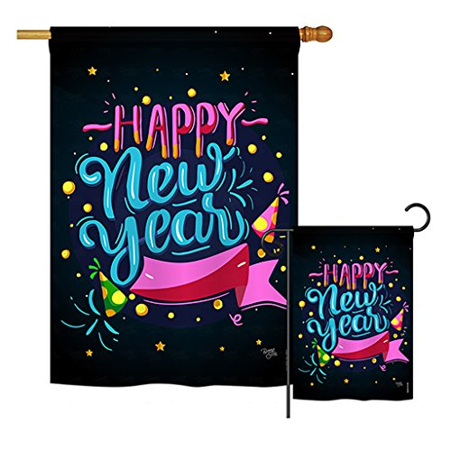 Breeze Decor S116010-BO Popping Happy Winter New Year Decorative Vertical Flags Set, House 28