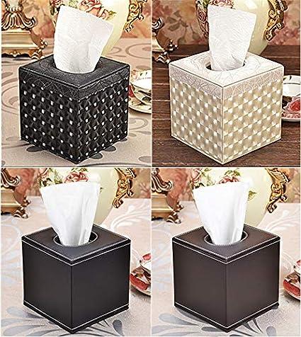 14 x 13,5 x 13,5/cm Nero iTemer Copriscatola di fazzoletti per la casa e l/'ufficio in cuoio da tavolo l/'auto