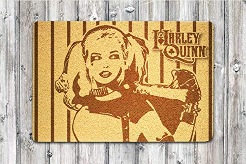 Art Finds Boutique Harley Quinn Suicide Squad Supervillain Size 24x16 inch Eco-Friendly Welcome Doormat Design Outdoor Decor Gift Design for Any Event and Outdoor Interior New House -