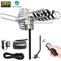 TV Antenna,SKYTV Amplified Digital HDTV Antenna 150 Miles Outdoor TV Antenna 360° Rotation -Wireless Remote - 33FT Coaxial Cable FM/VHF/UHF Channels (Mount Pole)