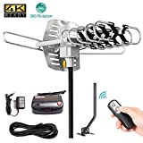TV Antenna,SKYTV Amplified Digital HDTV Antenna 150 Miles Outdoor TV Antenna With 360° Rotation -Wireless Remote - 33FT Coaxial Cable for FM/VHF/UHF Channels(With Mount Pole)