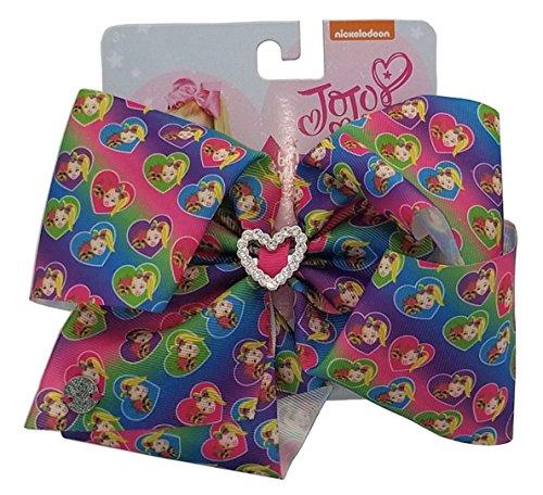 Jojo Siwa Bow Large Signature Collection - Rainbow with Jojo and Bow Bow w/Rhinestone Heart -