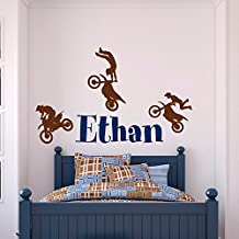 Name Wall Decal Boy- Dirt Bike Wall Decals- Motocross Baby Wall Decal Personalized Stickers Kids Boys Room Nursery Boy Decor Wall Art