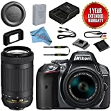 Nikon D5300 DSLR Camera With 18-55mm + 70-300mm AF-P DX VR Lens Bundle (Grey)
