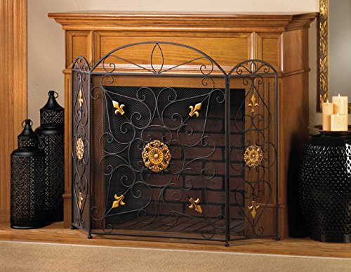 Fireplace Screens Rustic Bronze Iron Metal Spark Guard Three Panel Mesh Decorative Antique Modern Mesh Screen