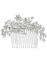 Ever Faith Butterfly Flower Floral Wedding Hair Comb Clear Austrian Crystal N03349-1
