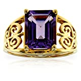 10k Yellow Gold Purple Amethyst Gemstone Antique Filigree Ring, Birthstone of February.