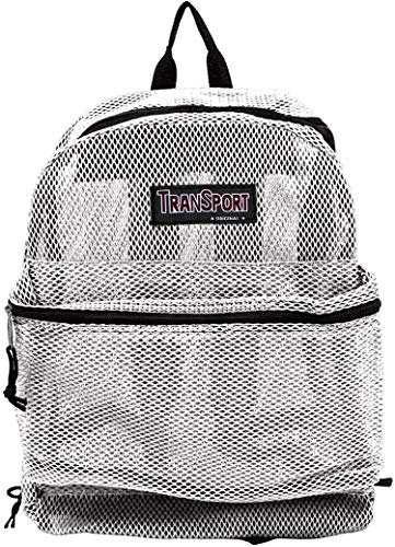 "17"" Transport See Through Mesh Backpack/Travel/Hiking/Book School Bag (White)"