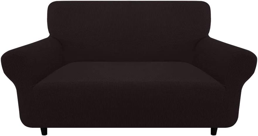 Yoobure Stretch Sofa Cover 1-Piece Loveseat Slipcover for 2 Cushion Couch, Reversible Waterproof Furniture Protector Sofa Covers for Living Room with Elastic Straps Machine Washable for Kids Pets