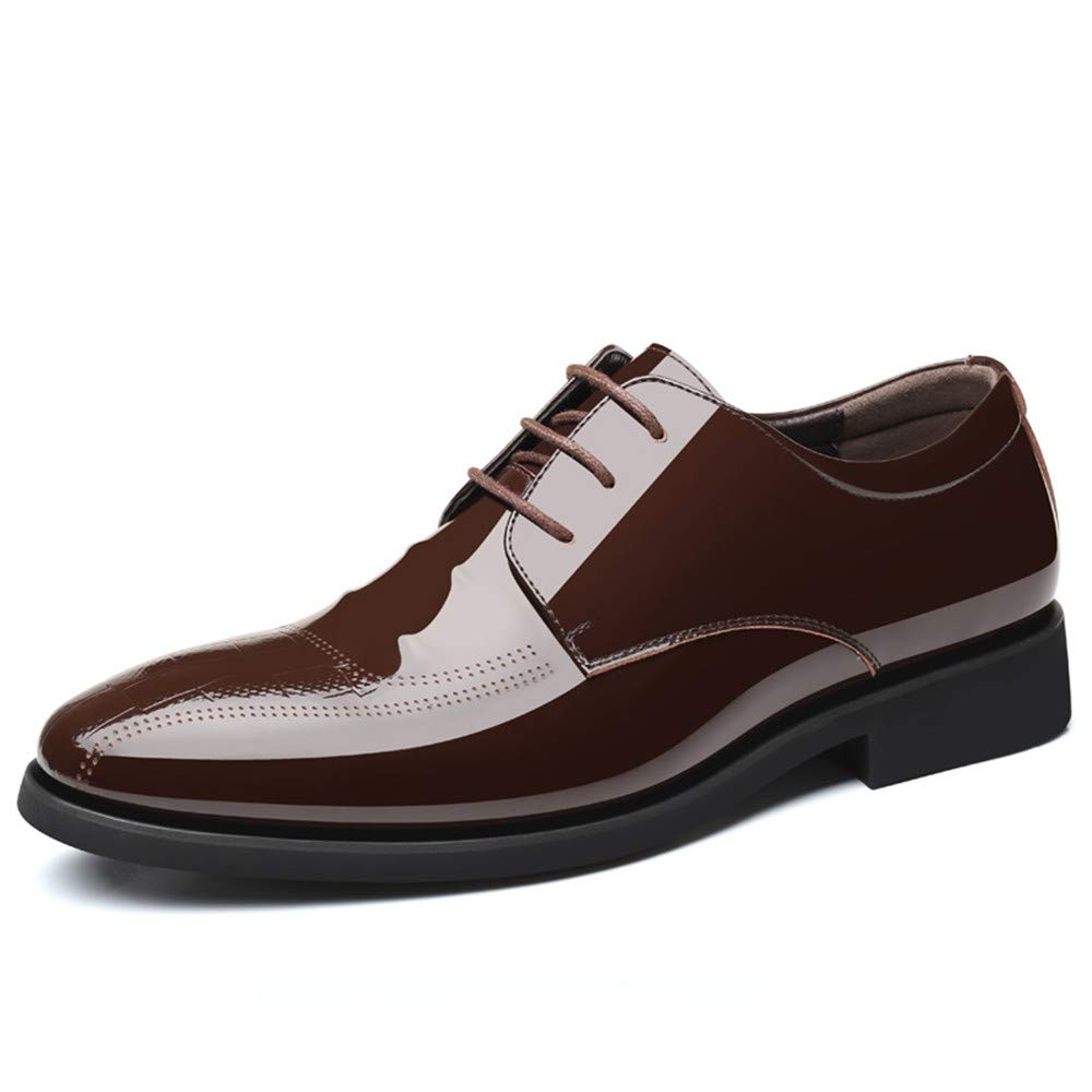 JIALUN-Schuhe Herren Simple Business Oxford Casual Schnür-Stil und Fuß Stil Lackleder Formelle Schuhe (Farbe   Lace braun, Größe   43 EU)  | Nicht so teuer