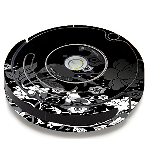 Skin Decal Vinyl Wrap For IRobot Roomba 650 655 Vacuum / Black Floral Pattern