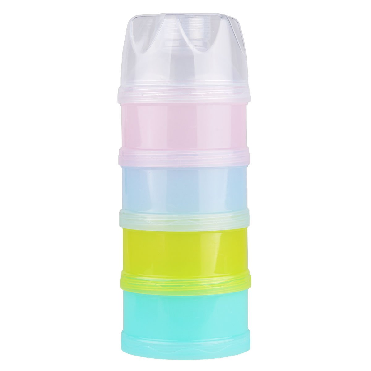 Tiaobug 4 Layers Baby Milk Powder Formual Dispenser Portable Stackable Non-Spill Baby Feeding Food Fruit Snack Storage Container BPA Free T-10057579-UK