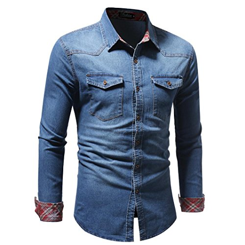 Realdo Mens Autumn Winter Vintage Distressed Solid Denim Long Sleeve Button Down T-Shirt Top Cardigan at Amazon Mens Clothing store:
