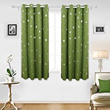 Deconovo Blackout Curtains Silver Star Foil Print Solid Thermal Insulated Blackout Drapes for Children's Bedroom 52 X 63 Inch Green One Pair