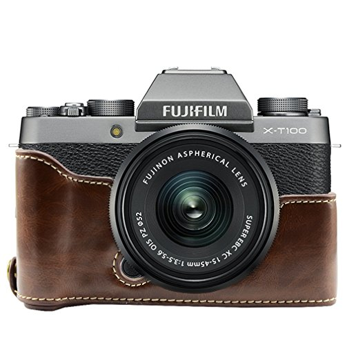 First2savvv PU Leather Half Bottom Camera Case, Bag Protective Cover for Fujifilm XT100 X-T100 DL-XT100-D-Coffe
