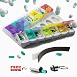 Titan Pill Organizer Twice Daily 7 Day Dispenser: Detachable Vitamin Holder with 14 Multi-Color Push Buttom AM/PM Sections Plus Magnet Strip and Fob