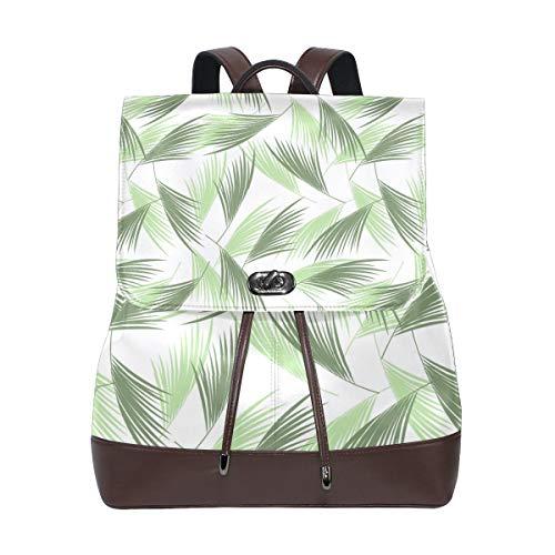 Fashion Shoulder Bag Rucksack PU Leather Women Girls Ladies Backpack Travel Bag Tropical Leave Garland Pattern Floral (60 Tablets Reveal)