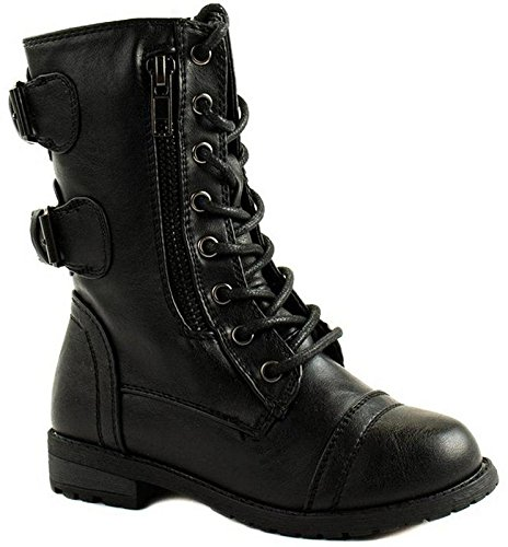 Forever Link Girls Mango 61K Lace Up Boots | Combat Boots for Girls | Zipper Boots | Toddler Girl Shoes | Little Girl Shoes | Black 11 -