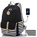 Sqoto Backpack, Canvas Girls Bookbag with USB Charger Port and Pencil Case Black Backpack Laptop Bag for 14 Inch Striped Travel Daypack Rucksack Student Bag