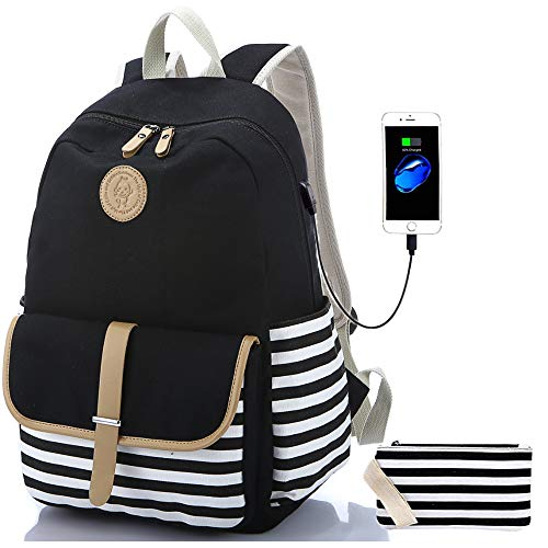 Sqoto Backpack, Canvas Girls Bookbag with USB Charger Port and Pencil Case Black Backpack Laptop Bag for 14 Inch Striped Travel Daypack Rucksack Student Bag (Shoulder Bags For Teenage Girls)