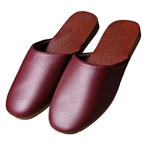 Wooden PU Summer W Mute for Men Leather Rouge and Floor Slippers Spring Vin Women Autumn TELLW TqYwtxdHd