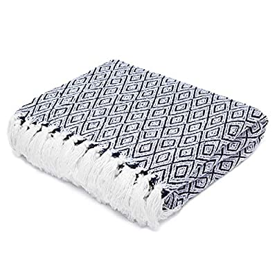 "Americanflat Omala Throw Blanket in Navy and White Double Diamond - 100% Cotton with Fringe - 50"" x 60"" -  - blankets-throws, bedroom-sheets-comforters, bedroom - 51YHg%2B9N6pL. SS400  -"