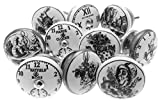 Mixed Set of 'Alice in Wonderland - Clocks' Black & White Ceramic Cupboard Knobs 1.5'' x Pack 10 (MG-262) - 'Mango Tree' TM Registered Product