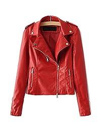 LJYH Women's Zipper Motorcycle Biker Faux Leather Jackets, Red, Small