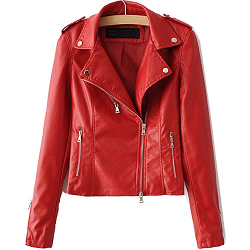 LJYH Women's Zipper Motorcycle Biker Faux Leather Jackets, Red, Large