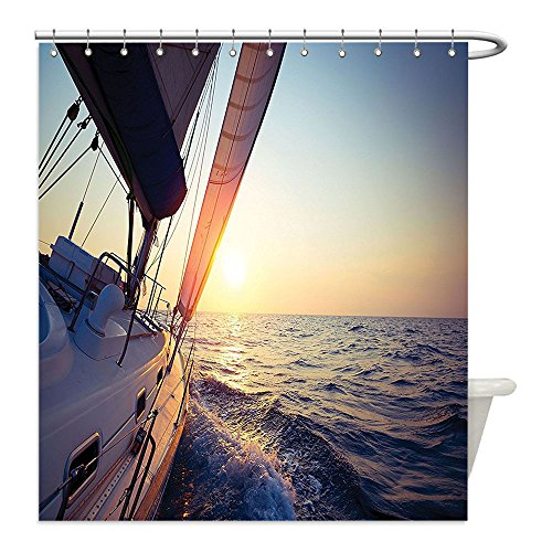 Liguo88 Custom Waterproof Bathroom Shower Curtain Polyester Sailboat Nautical Decor Collection Sail Boat Gliding in Open Sea at Sunset Leisure Vessel Windy Yachting Sport Image Cream Decorative bathr - Hang Gliding Costume