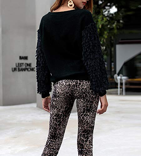 Casual Rond Noir Hiver Tops Jumper Pulls Blouses Mode Blouse Pullover Hauts Automne Longues Femmes Manches Chandail Col Frange Sweaters BUOUwPx1