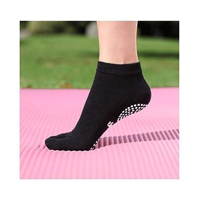 Calcetines de yoga, calcetines de yoga profesionales antideslizantes absorbentes de sudor, partículas antideslizantes Calcetines de yoga de cinco dedos resistentes al desgaste y transpirables, (1 par): Deportes y aire libre