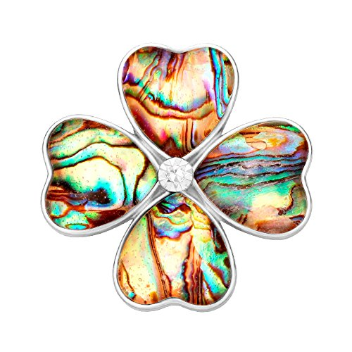 SENFAI Gold Four Heart Leaf Abalone Shell Flower Magnetic Clip Holder Brooch Jewelry (Silver)