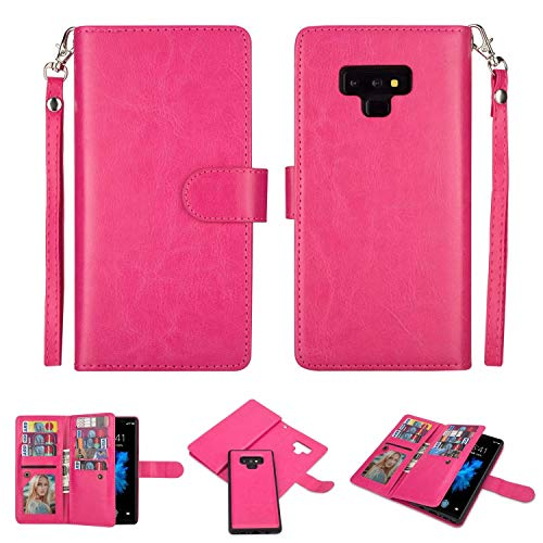 Galaxy Note 9 Wallet Case, SUPZY Leather Detachable Magnetic Flip 9 Card Slots Holder Wrist Strap Purse Removable Slim Protective Cover for Samsung Galaxy Note 9 (2018) 6.4 inch (Rose)