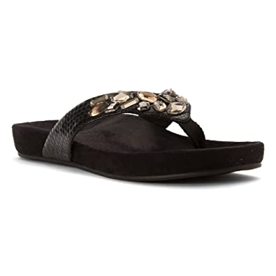 67826ec160c47e Vionic with Orthaheel Technology Womens Verity Toepost Sandal Black Size 6