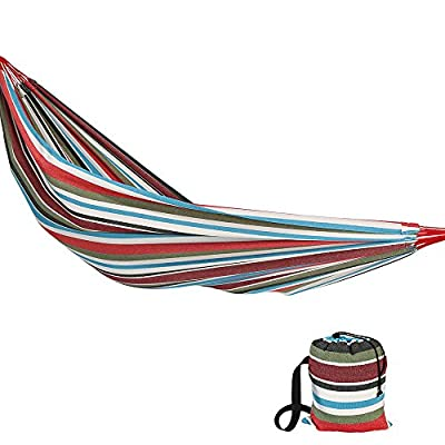 Sunnydaze Brazilian Double Hammock Extra Large, 2 Person Portable Woven Bed with Carrying Bag - for Indoor or Outdoor Patio, Backyard, and Porch (Cool Breeze) - LARGE SIZE: Brazilian hammock is 140 inches long x 60 inches wide. Bed size is 96 inches long x 60 inches wide with a 450 pound weight capacity, making it a cozy two person hammock. COMFORTABLE DESIGN: Heavy duty hammock is made from cotton material to ensure the hammock is comfortable and strong. The size of the hammock makes it equally enjoyable for people all of heights. RELAXING FEATURES: Outdoor hammock will wrap you in a snug cocoon, making it perfect if you want to enjoy the weather, read a book, or take a nap. - patio-furniture, patio, hammocks - 51YHgoKZKHL. SS400  -