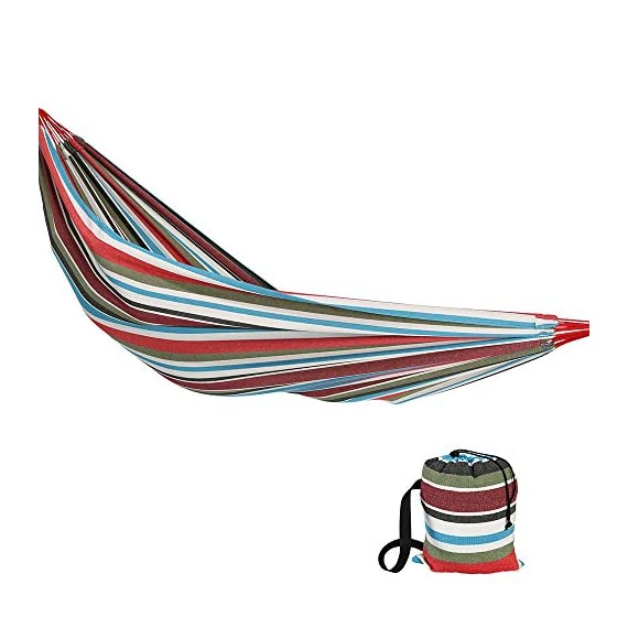 Sunnydaze Brazilian Double Hammock Extra Large, 2 Person Portable Woven Bed with Carrying Bag - for Indoor or Outdoor Patio, Backyard, and Porch (Cool Breeze) - LARGE SIZE: Brazilian hammock is 140 inches long x 60 inches wide. Bed size is 96 inches long x 60 inches wide with a 450 pound weight capacity, making it a cozy two person hammock. COMFORTABLE DESIGN: Heavy duty hammock is made from cotton material to ensure the hammock is comfortable and strong. The size of the hammock makes it equally enjoyable for people all of heights. RELAXING FEATURES: Outdoor hammock will wrap you in a snug cocoon, making it perfect if you want to enjoy the weather, read a book, or take a nap. - patio-furniture, patio, hammocks - 51YHgoKZKHL. SS570  -