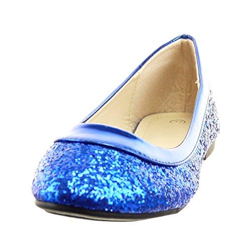 Sopily - Zapatillas de Moda Bailarinas Tobillo mujer brillante patentes Talón Tacón ancho 1 CM - plantilla sintético - Azul