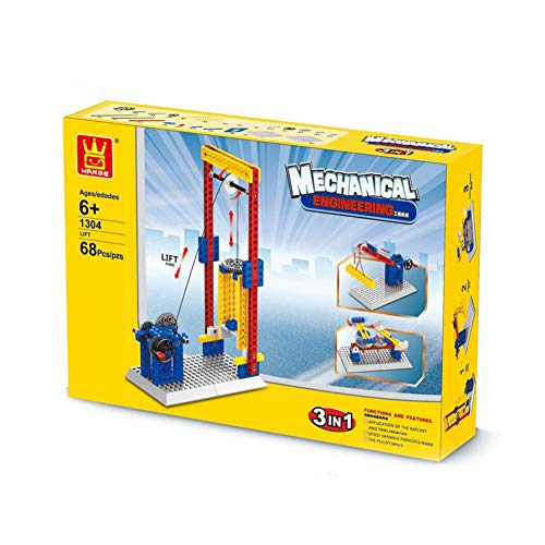 (HJRHH-R 3In1 Mechanical Engineering Education Toys for Children Boys Gift Building Blocks Gears Bricks Kids Lift Go Round Windmill)