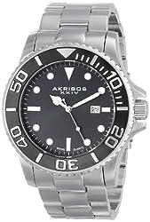 Akribos XXIV Men's AK674SSB Essential Swiss Quartz Black Dial Stainless Steel Bracelet Watch