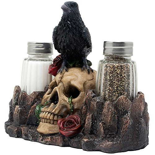 Bone Chilling Raven On Human Skull Salt And Pepper Shaker Set With  Decorative Display Stand Figurine For Scary Halloween Decorations Or  Medieval U0026 Gothic ...