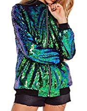 Women's Sequin Blazer Long Sleeve Clubwear Sparkly Zipper Front Bomber Jacket
