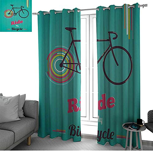 bybyhome Vintage Darkening Noise Reducing Backtab Window Panel Ride My Bicycle Theme Poster Style Retro Bike Hipster Art Illustration Short Curtain Teal Hot Pink Black W120 x L108 Inch