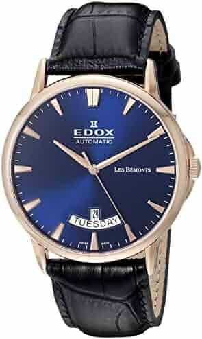 6159659f0daa Edox Men s 83015 37R BUIR Les Bemonts Analog Display Swiss Automatic Blue  Watch