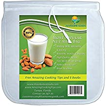 """Nut Milk Bag - Best Reusable 12""""x10"""" Filter Strainer for Almond Milk, Juice, Cold Brew Coffee.. Bonus Tips and Recipes (1, 12)"""