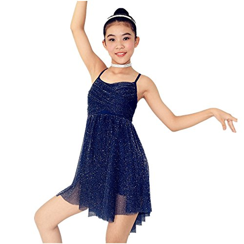 MiDee Crossing Pleaseted Bust Sparkle Dress Ballet Dance Clothes Cheap Ballroom Dresses For Sale (MA, Dary (Cheap Dance Costumes)